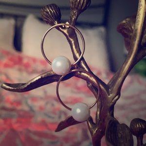 Delicate Pearl Hoop Earrings